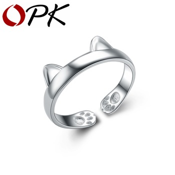 OPK 925 Sterling Silver Rings Women Cat Ear With Claw Design Size Adjustable Valentines Open Band Gift For Adorable Girl HD370