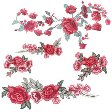 1 PC Resplendent Flower Red Rose Blossom Applique Embroidery Patch Fabric Sticker Sew-on New