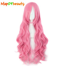 MapofBeauty long wavy pink women Cosplay Wigs 80cm 32 Inches Ladies High Temperature Fiber Heat Resistant Synthetic hair peruca