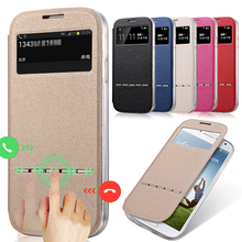 for Samsung Galaxy S6 Cases Luxury Smart Answer Leather Flip Silicone Case for Samsung S4 S5 mini Note 2 3 4 5 Shell Cover Capa(China)