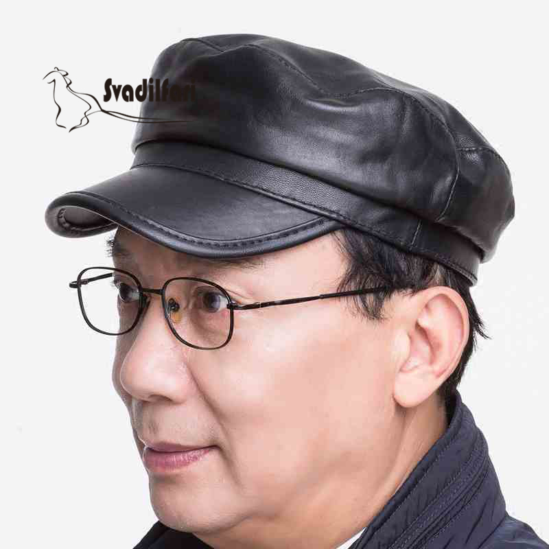Thin leather Claus hat Mens Navy cap flatcap sheepskin old cap warm autumn and winter tide<br>