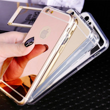 Hot ! Plating Mirror Phone Back Case Para for iPhone 5S 5 SE / 6 6S 7 Plus / 4 4S Cover Soft Silicone TPU Frame Protective Case(China)