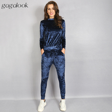 gagalook Velour Tracksuit Women Pink Blue Track Suit Velvet Sweatshirt and Pants Sweatsuit 2 Two Piece Set S1236(China)