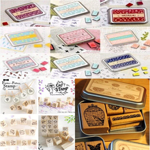 Special offers,(24 Different Styles) DIY Scrapbooking Angel Stamps Set Vintage Wooden Box Rubber Craft Ink Pad Alphabet Stamp