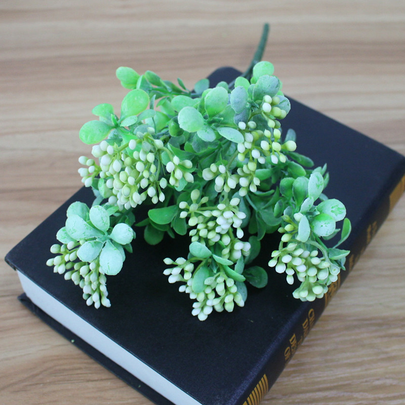 Artificial Plastic Branch Flower Wedding Home Decor Garden Artificial Plants Fake Plastic Milan Grass Foliage Plant Tree (14)