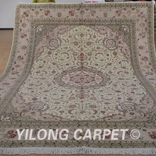 Yilong 9'x12' art silk wool carpet beige handmade exquisite persian wool rugs wholesale (1378)
