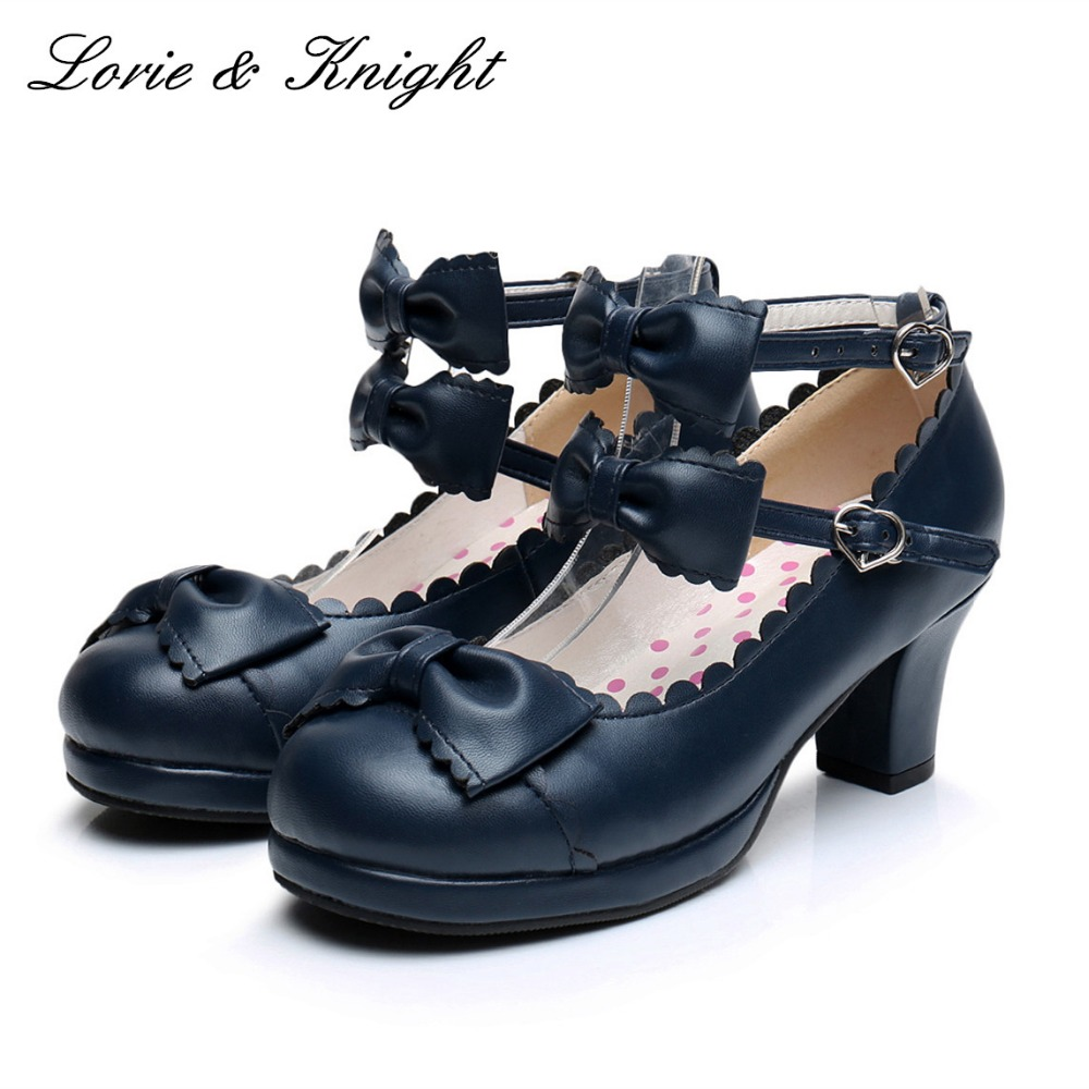 Japanse Harajuku Sweet Princess Girls Double Bowtie Straps Chunky High Heel Lolita Shoes<br>