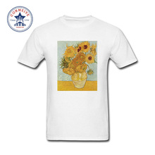 2017 Hot Selling Funny Van Gogh Still Life Fifteen Sunflowers Cotton T Shirt for men