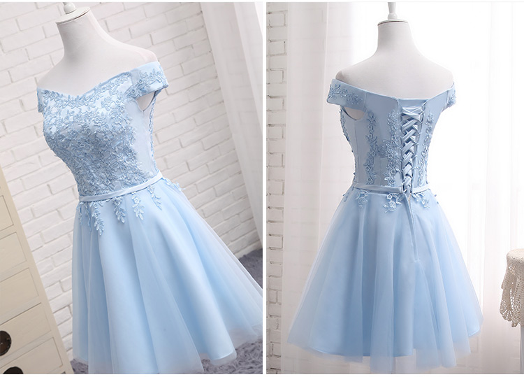 LAMYA Short Chiffion A Line Prom Dresses 2018 Boat Neck Lace Evening Party Dress Cheap Elegant Special Occasion Gowns 10