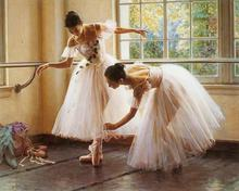 Two Ballerina in dance practice Painting on Canvas  Wall Art Picture for Living Room Home Decoration UnFramed
