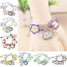 Flowers Pearl Bracelet Mini Watch High Quality Women Wrist Watches With Butterfly pendant Colorful Watch For Women  LL