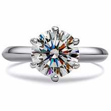 THREEMAN 1.5CT Royal Design Solid 18K White Gold Brilliant Six Prongs Solitaire Made Diamond Gold Ring Pure Au750 Gold Jewelry(China)