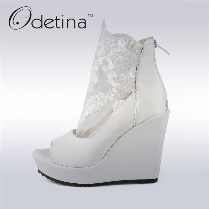 Odetina 2017 New Fashion Peep Toe Summer Boots Back Zipper Thick Platform High Heels Wedge Sandals Boots Mesh Plus Size 31-48<br>