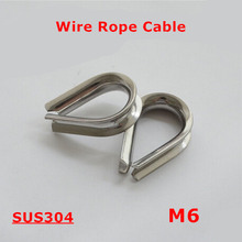 50pcs M6 Wire Rope Cable 304 Stainless Steel 6mm Triangle Thimble Clamps Wirerope Cables(China)