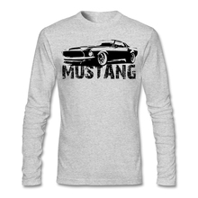 Mustang Front Shirt For Men Funny Long Sleeve Cotton Custom Big Size Backing Couple Tee Shirts