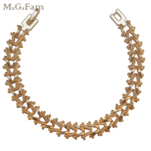 M.G.Fam (190*10mm)Charm 18 Yellow Gold Color Watch Bracelet Jewellry Men made by Environmental Copper(China)