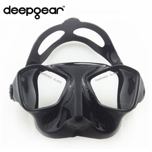 DEEPGEAR low volume tempered lens spearfishing and freediving mask silicone diving mask top spearfishing gear diving gears(China)
