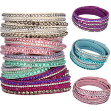 LNRRABC Hot Rhinestones PU Leather Crystal Multilayer Punk Bangles For Women/Men Charm Bracelet manchette femme Fashion Jewelry(China)