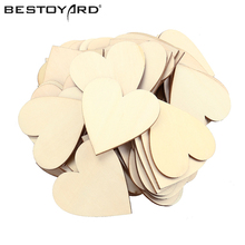50pcs 60mm Blank Unfinished Wooden Heart Crafts Supplies Laser Wood Wedding Decoration Teaching DIY Accessories(China)