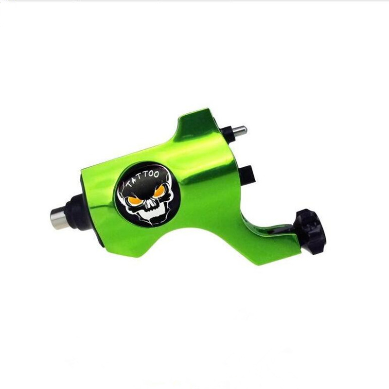 Tattoo Trends Bishop Style Rotary Tattoo Machine Gun RCA PLUG Tattoo Grip Yellowish Green RedLiner Shader Ghost Head<br>