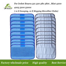 20-Pack Mixed Microfiber Mopping Cloths 10 wet + 10 dry for iRobot Braava 380 380t 320 Mint 4200 4205 5200 5200C Robots