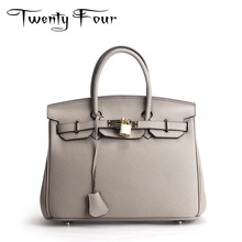 Buy Twenty-four Women Luxury Totes Bags Genuine Leather Handbag Lock Three Size Saffiano Bags Fashion Style Ladies Shoulder Bag for $52.25 in AliExpress store