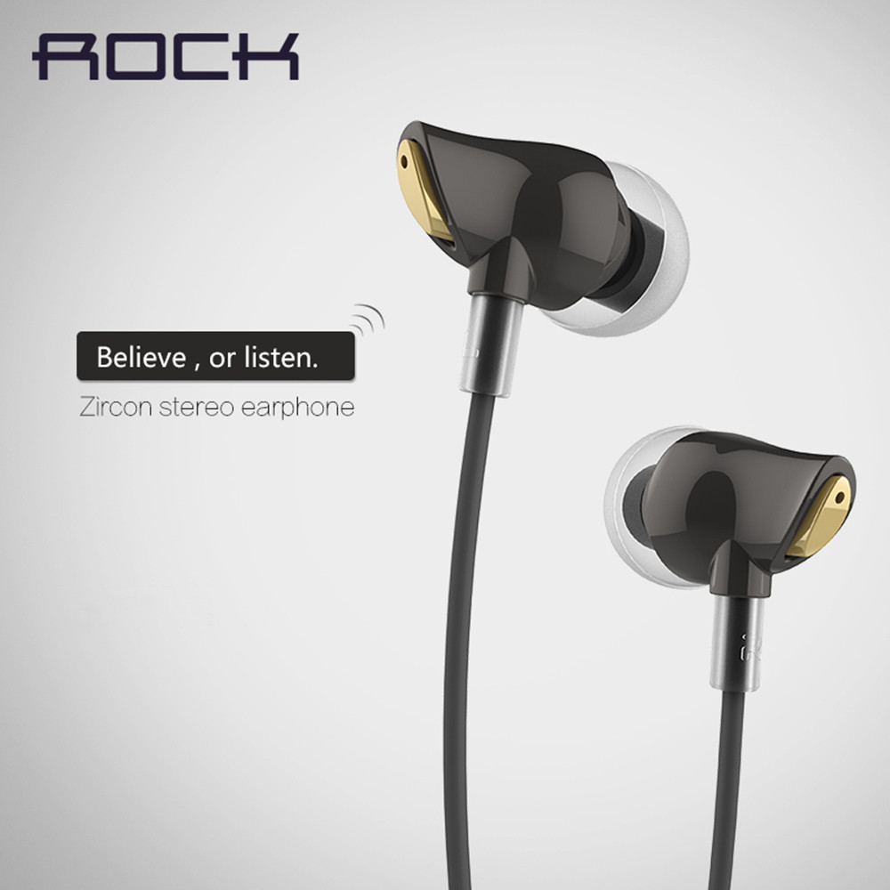 Original Brand Rock Earphone Nano Zircon Stereo Earphone Headset 3.5mm In Ear Headset Earbuds For IPhone Samsung With Mic&amp;Remote<br><br>Aliexpress