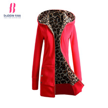 Womens Hoodies Winter Long Sleeve Coat Patchwork Outwear Zipper Fleece Leopard Print Buttons Decorative Hooded Bubblekiss