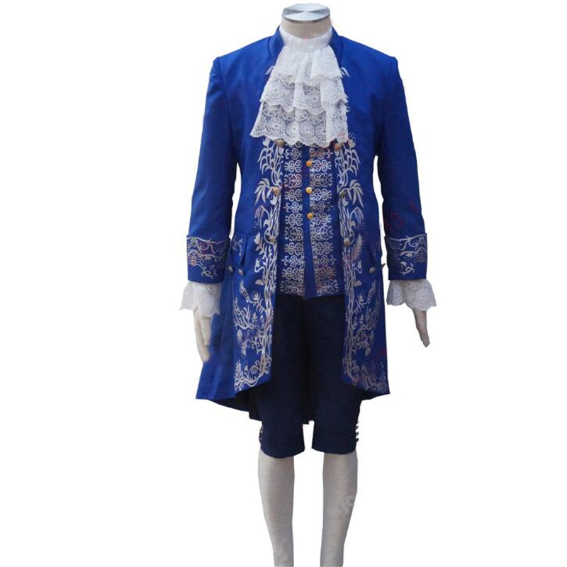Movie Beauty and the Beast Cosplay Costume Gentleman  the Beast Cosplay Blue Outfit Men Halloween Carnival Apparel  Custom Made
