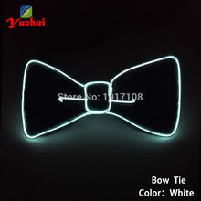 2017 Ten Color Choice Blinking Flexible EL wire bow tie Flashing LED Bow tie Powered by AA battery For Festival Party Decoration