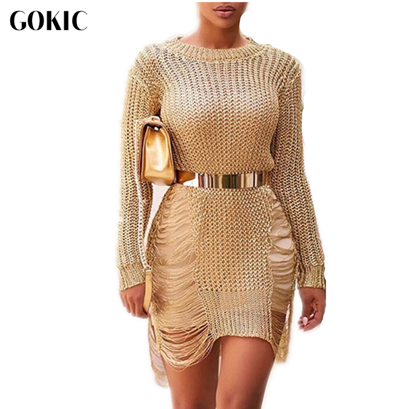 GOKIC 2017 Autumn Sexy crochet gold hollow out party sweater dress women casual pullover o-neck long sleeve short beach tunic(China)