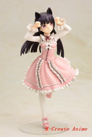 Free shipping 1pcs newest Anime Ore No Imouto My Little Sister Cant Be This Cute black cat red color pvc figure toy tall 22cm.<br>