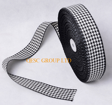 NEW 38mm Black White Houndstooth hemp cotton ribbon Plaid ribbon for fascinator hat hair accessory dress  bag decoration belt