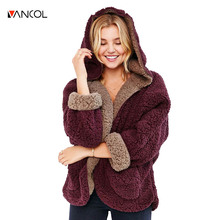 vancol 2016  fashion winter ladies lamb wool coat Open stitch long batwing sleeve thick reversible fur hoodie sweatshirt women