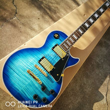 Hot guitar!!! Blue custom electric LP guitar, AAA rosewood guitar body and neck, free shipping, real guitar photo