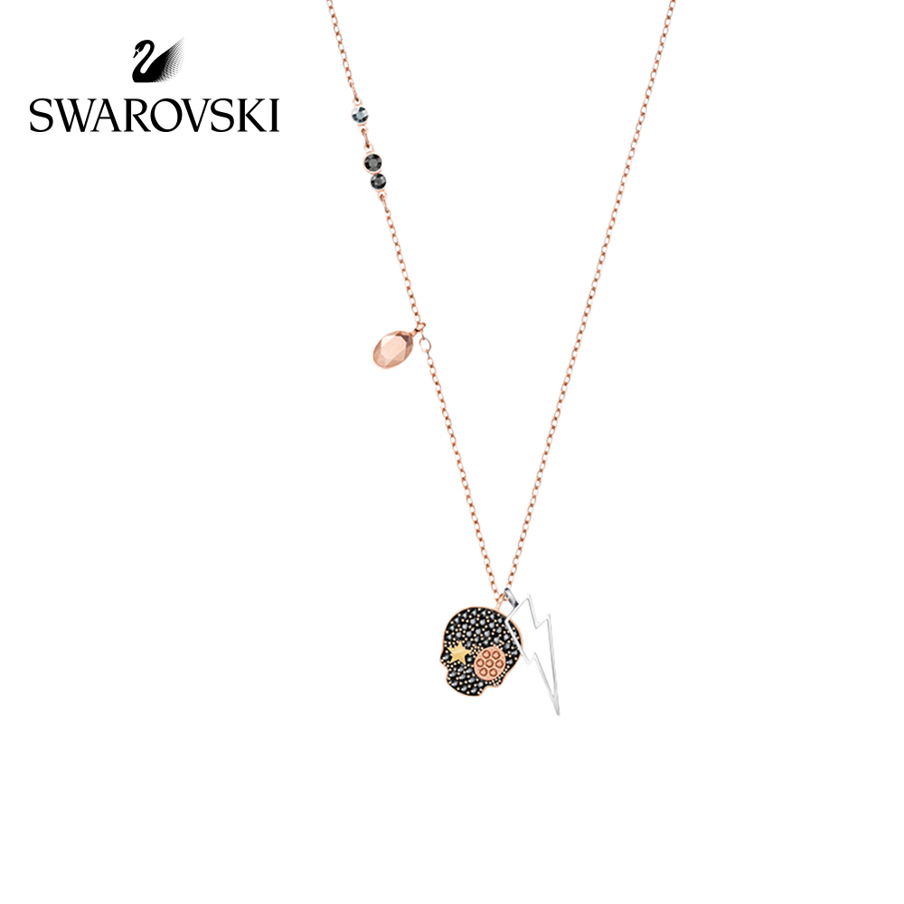 Genuine Swarovski Duo Personality skull pendant necklaces Fashion Mix Female Crystal Necklace Choker Necklace 5396880