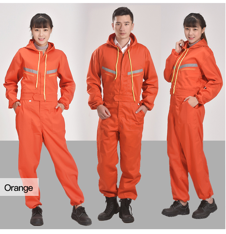 Men Women Coveralls Long Sleeve Hooded Reflective strip Overalls Auto Repair Engineering Spray Paint Workwear Working Uniforms (4)