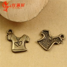 15*13MM Antique Bronze Love short sleeved clothes pendant mobile phone accessories, kawaii T-shirt charm beads for bracelet make