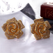 2017 crystal Rose flower stud earring alli express brincos para as mulheres bijoux zirconia earrings for women jewelry