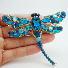 Elegant Dragonfly Bird Brooch Pin Blue Austrian Crystal Rhinestone Animal Party Jewelry