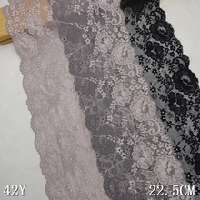 22.5cm width Apparel Accessories Gray Elastic Stretch Lace trim sewing headband underwear garment clothes accessories Black