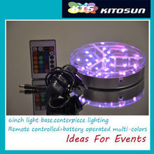 10pcs DHL Rechargeable RGB Remote Controlled 6inch Round Bottle table centerpiece LED Light Base for wedding party decoration