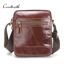 CONTACT'S New Fashion Cowhide Man Messenger Bags Genuine Leather Male Cross Body Bag Casual Men Commercial Briefcase Bag(China)