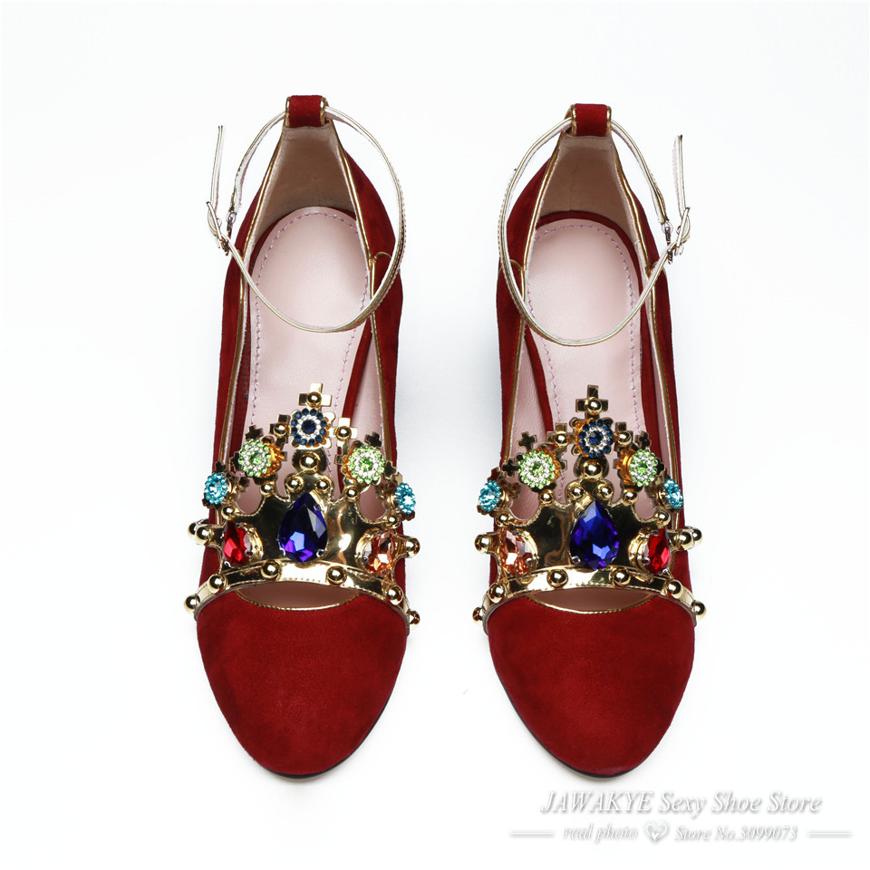 Sexy Metal Crown jeweled Red High heels Wedding Shoes Woman Suede Round Toe  Chunky heel ankle strap Women Pumps ladies shoes  HTB1zX59PVXXXXbxaXXXq6xXFXXXX d43ea8bb9ff1