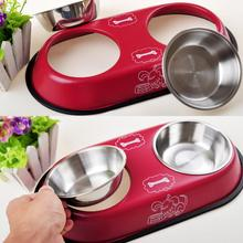 Double Stainless Steel Dog Cat Puppy Pet Bowl Food Dish Non Slip Food Water Feeding Dish Pet Supplies