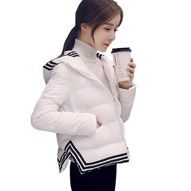 2017 Winter Jacket Women Short Parka Down Cotton Coat Women Manteau Femme Hiver Thicken Outerwear Hooded White Winter Coat C3738Îäåæäà è àêñåññóàðû<br><br>
