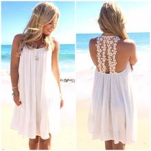 summer sexy dresses tops women O-neck white dress fashion clothing female hot dress clothes 2017 new arrival beach dresses