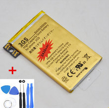 Original High Capacity Golden 2430MAH Replacement Battery For iPhone 3GS batteries charger + 7 in1 Repair Tools Free Shipping(China)