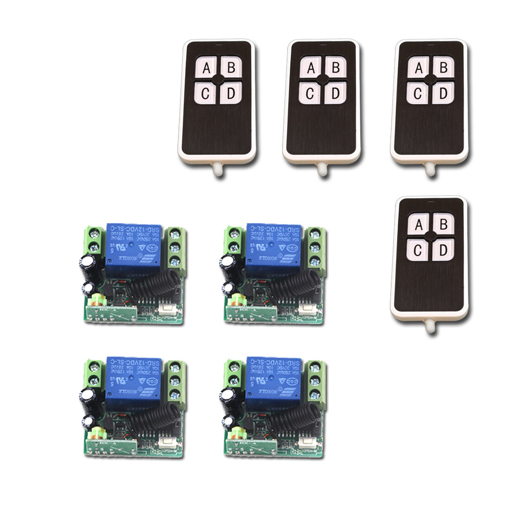 Wireless Remote Control Switch Wireless Remote Controller Systerm DC12V Mini 10A Relay Receiver + Transmitter 315Mhz/433Mhz<br>