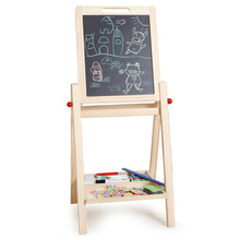 Double Sides Drawing Board Standing Toy Easel Chalkboard Blackboard,Adjustable Height,with Magnetic Puzzles(China)
